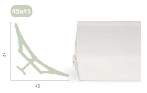 ANGOLARE IGIENICO PVC 45 x 45 DA 200 CM.