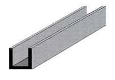 Sezione a U in alluminio 8 mm x 8 mm x 1 mm x 2000 mm